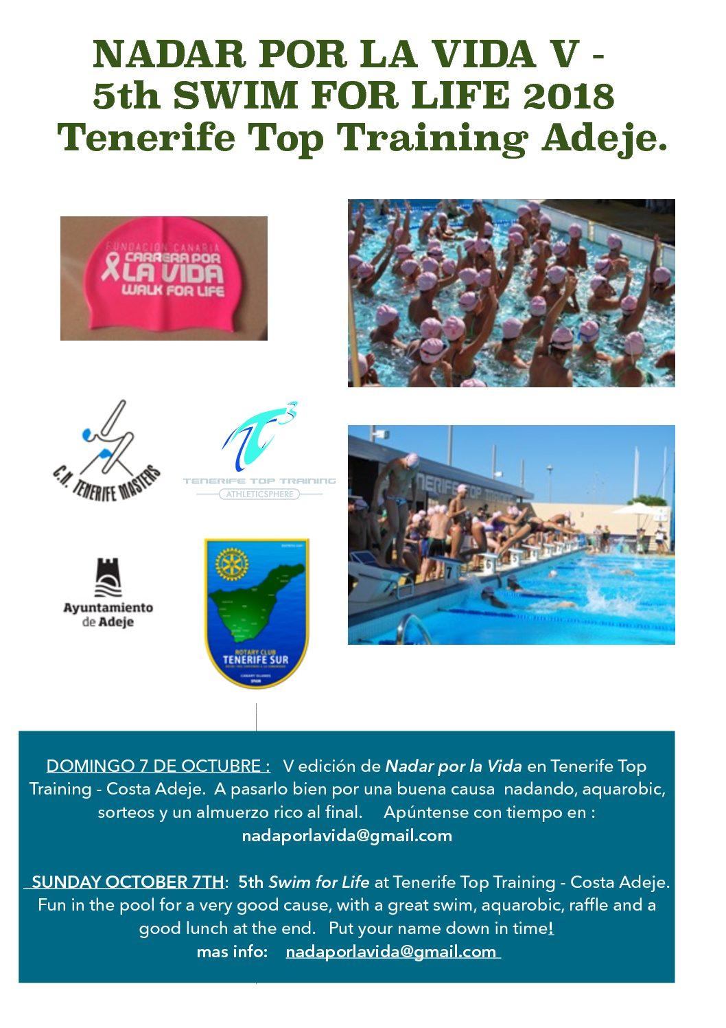 El domingo, 7 de octubre tendrá lugar la V edición de Nadar por la Vida en el T3 de Costa Adeje