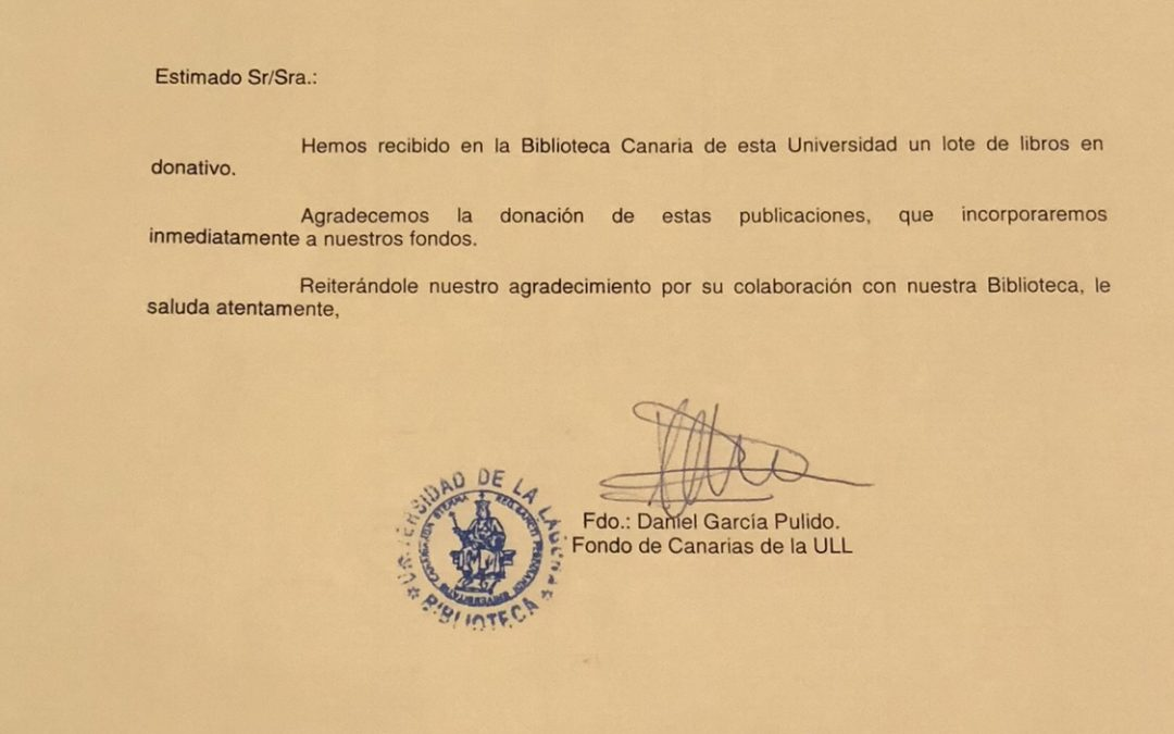 Rotary Club Tenerife Sur hace entrega de un importante lote de libros a la Biblioteca de la Universidad de la Laguna