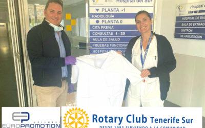 La empresa de uniformes Europromotion Canary a través del Rotary Club Tenerife Sur dona 33 uniformes al Hospital Público del Sur de Tenerife