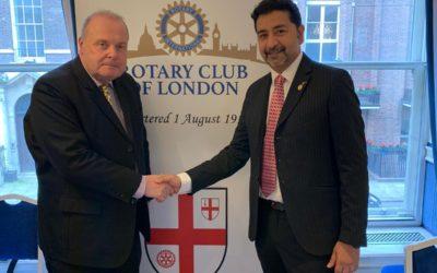 Suresh Ramesh  miembro de Rotary Club Tenerife Sur visita oficialmente al Club Rotario de Londres